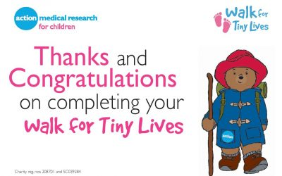 Thanks and Congratulations on completing your 'walk for tiny lives'